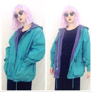Two Tone Teal and Purple Vintage Rain Coat